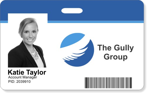 Photo ID Badge - Blue Stripe Horizontal