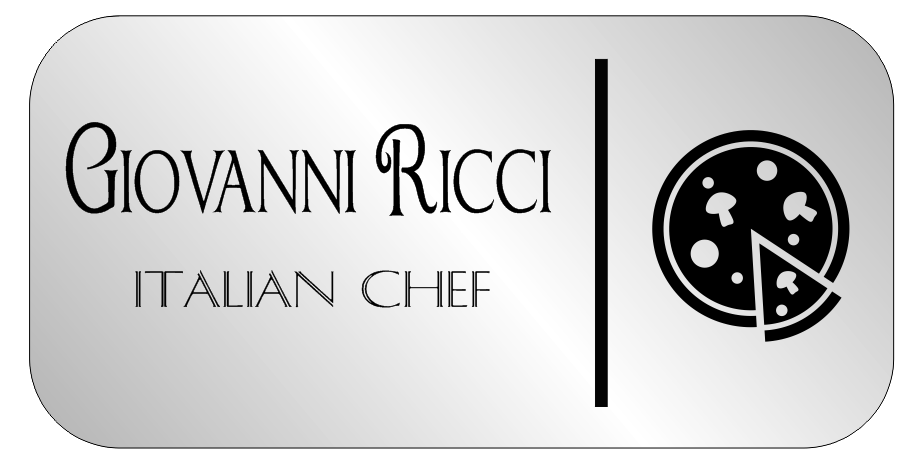 2 Line Italian Restaurant Rectangle Name Badge B