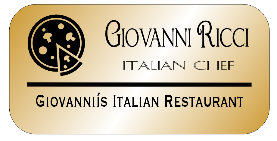 Pizza 3 Line Italian Restaurant Rectangle Name Tag