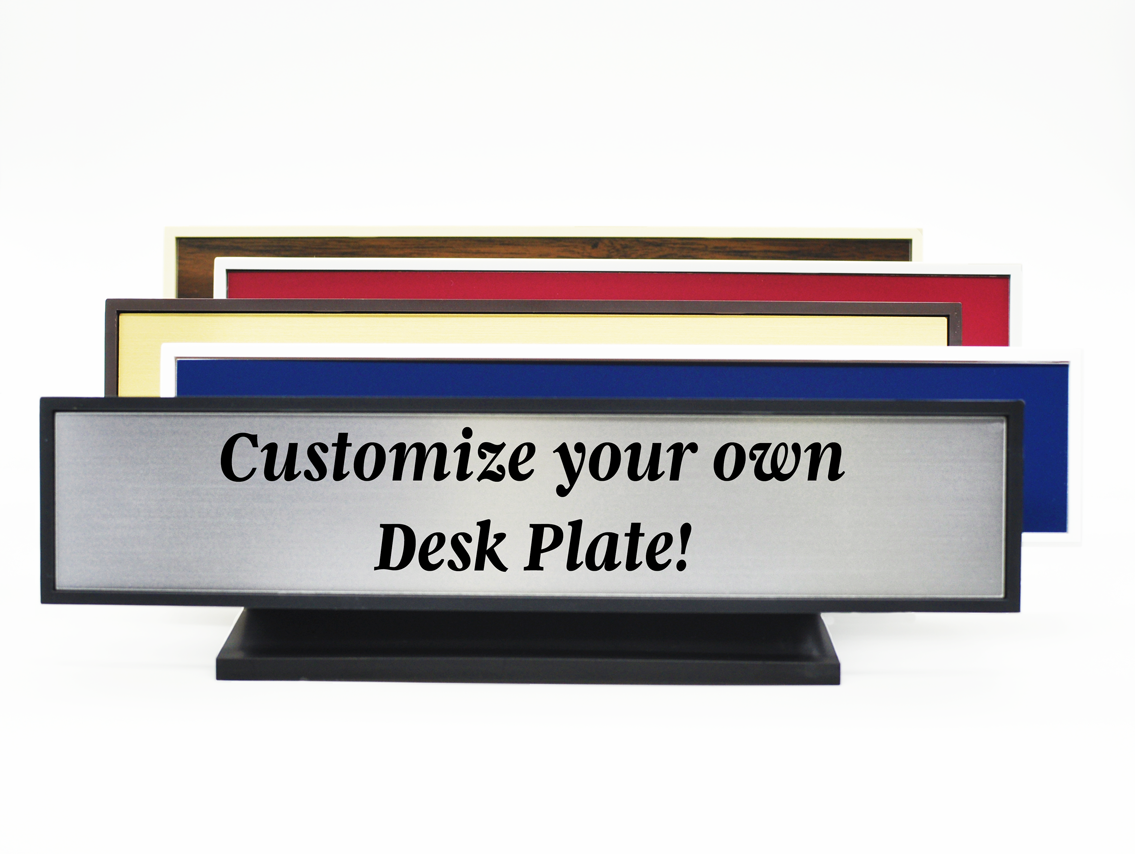 Plastic Square Corner Deskplate with Engraved Insert (8129, 3128)