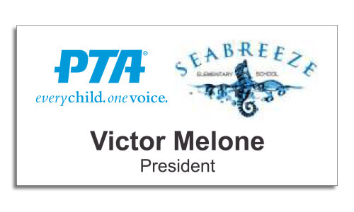 PTA Large White Printed Name Badge