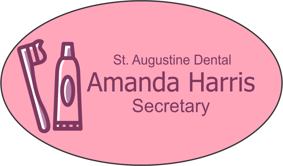 Custom Oval 3 Line Dental Name Tag