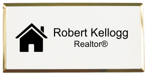 Real Estate Medium Rectangular Name Tag with Executive Holder (3