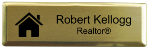 3x1 Inch Real Estate Small Rectangle Name Badge w/Holder