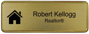 Real Estate Small Rectangular Name Tag with Premier Holder (3