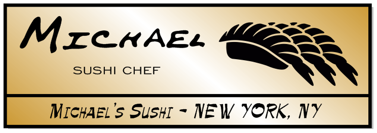 Rectangle 3 Line Sushi Restaurant Name Tag B