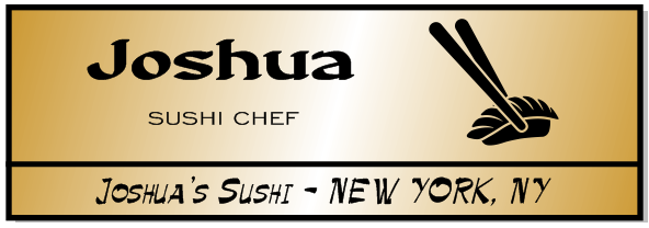 Rectangle 3 Line Sushi Restaurant Name Badge C