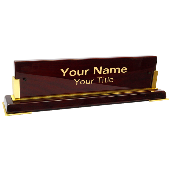 "Customized Brass Name Plate Wooden Base | 3"" x 10"""