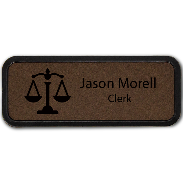 Scales of Justice Leatherette Frame Law Office Name Tag