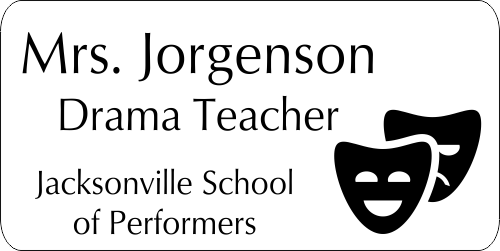 School Teacher Double Mask 4 Line Name Tag