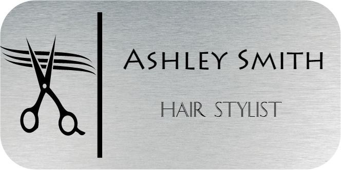 Scissors Hair Salon 2 Line Rectangle Boutique Name Tag