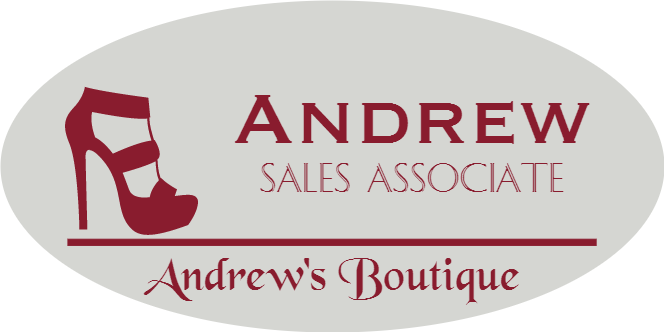 Shoe Store 3 Line Oval Boutique Name Tag