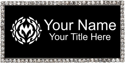 Silver & Black Rhinestone Name Tag