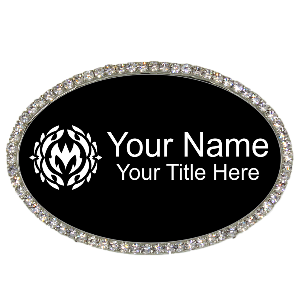 Silver and Black Oval Rhinestone Name Tag