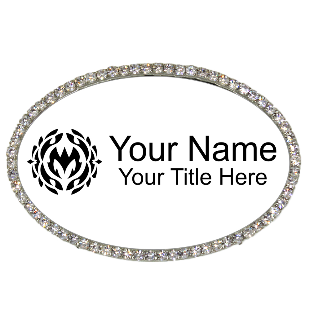 Silver and White Oval Bling Name Tag