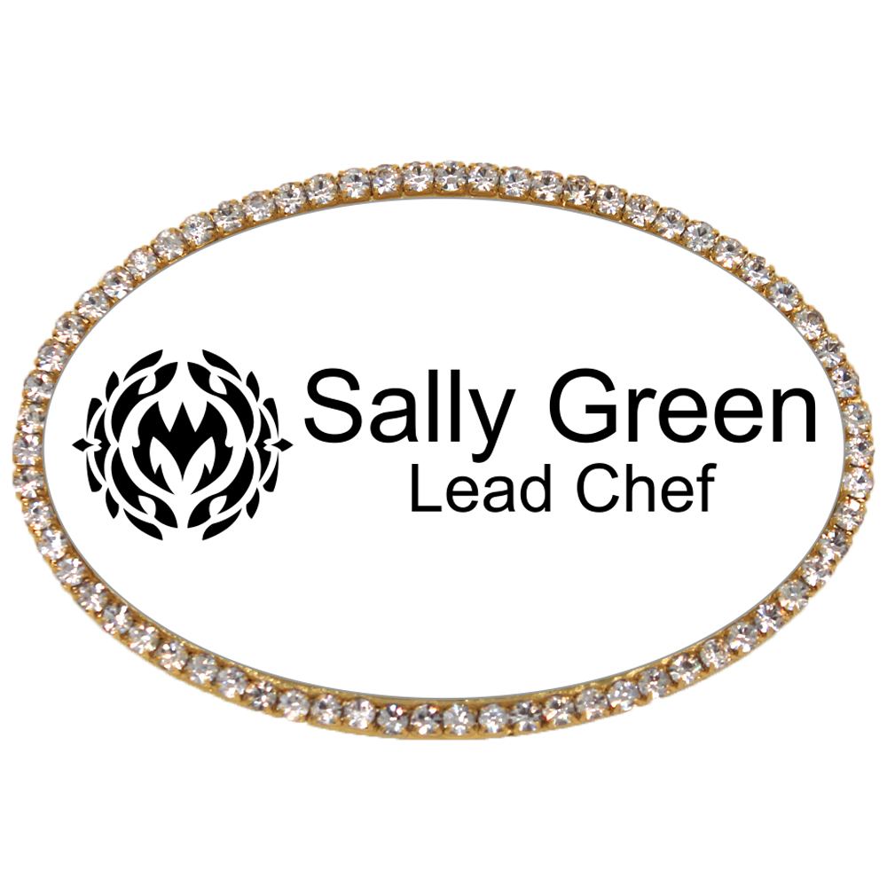 Sparkly Waitstaff Oval Name Tag