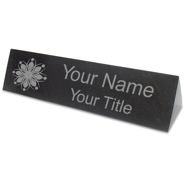"""Triangle Top Engraved Black Marble Desk Name Plate 