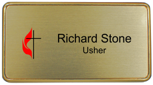 United Methodist Church Name Tag with Rounded Corner Frame