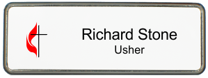 United Methodist Church Small Name Tag with Premier Frame