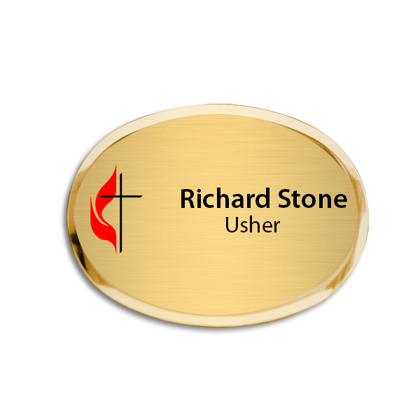 United Methodist Oval Church Name Tag with Premier Holder
