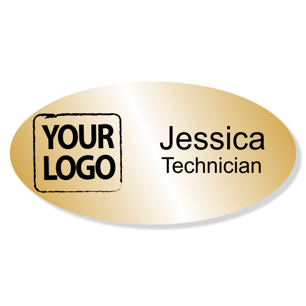 Upload Your Logo Engraved Oval Name Tag