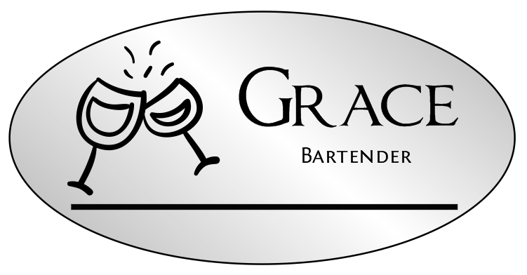 Wine Glass Oval Bar & Wine Name Tag