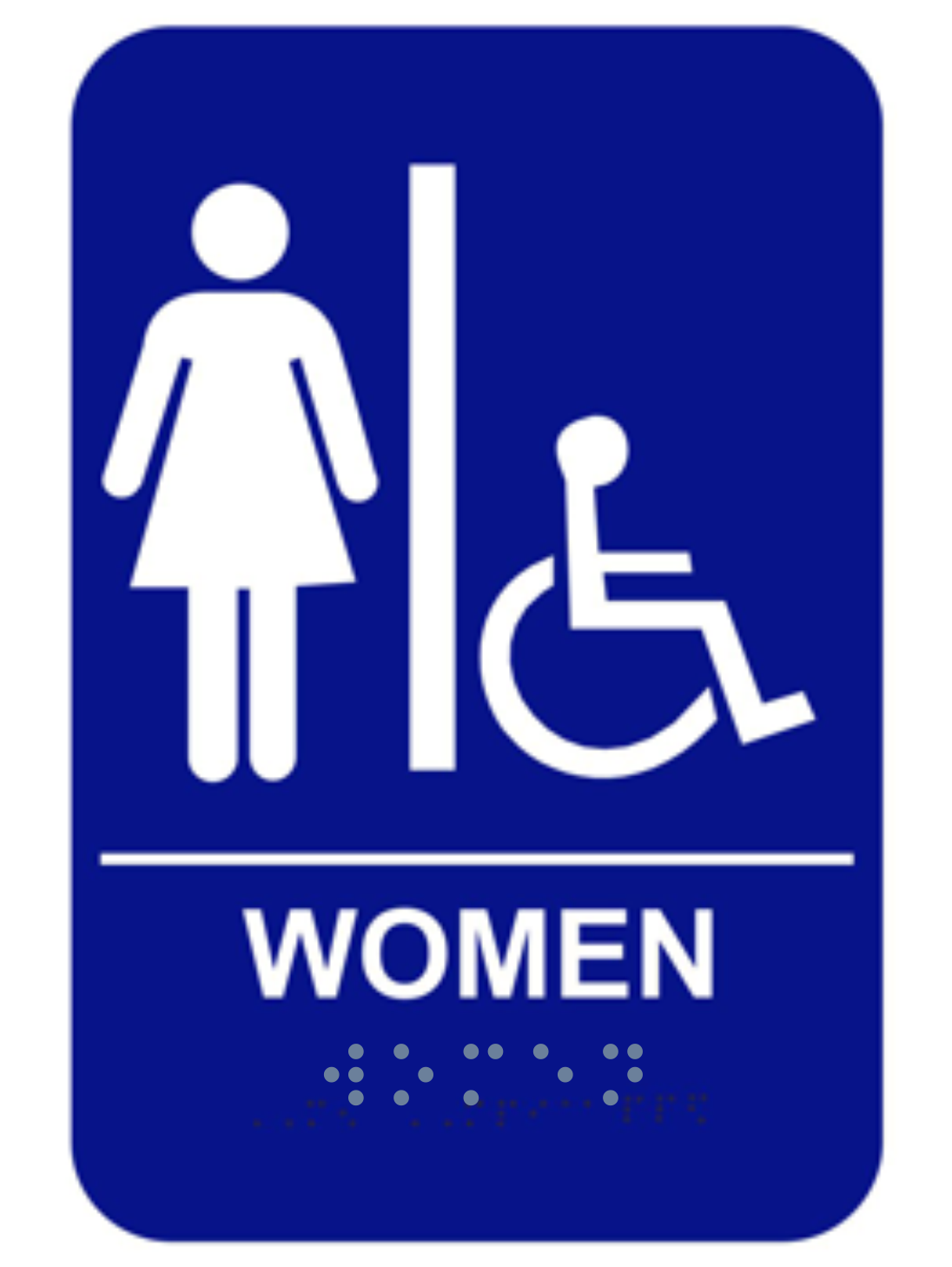 Women's Blue Handicap ADA Braille Restroom Sign