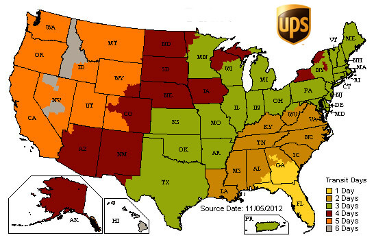UPS shipping estimate map