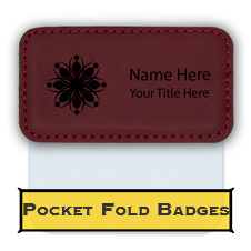 Custom Faux Leather Pocket Fold Badge