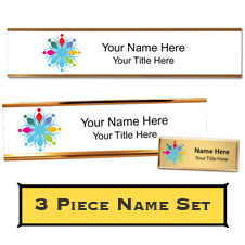 Custom Desk Plate, Wall Plate, and Name Tag Set
