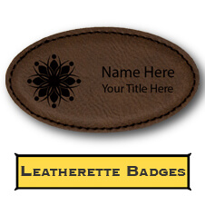 Custom Engraved Faux Leather Oval Name Tag